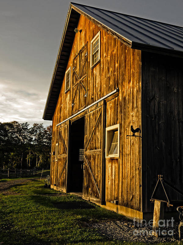 Horse Poster featuring the photograph Sunset On The Horse Barn by Edward Fielding
