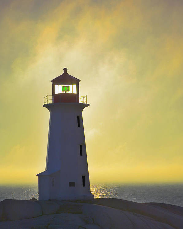 Beacons Poster featuring the photograph Sunset Over Peggys Cove Lighthouse by Thomas Kitchin & Victoria Hurst