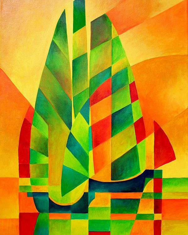 Sailboat Poster featuring the painting Sunset Sails And Shadows by Tracey Harrington-Simpson