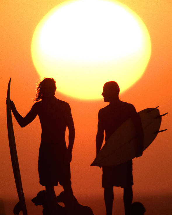 Surf Lifestyle Poster featuring the photograph Sunset Surfers by Sean Davey
