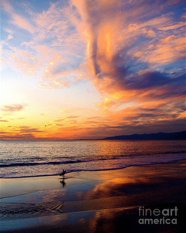 Surf Poster featuring the photograph Sunset Surfing by Jerome Stumphauzer