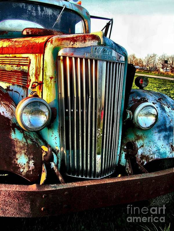 Antique Automobiles Poster featuring the photograph Super White Power by Julie Dant