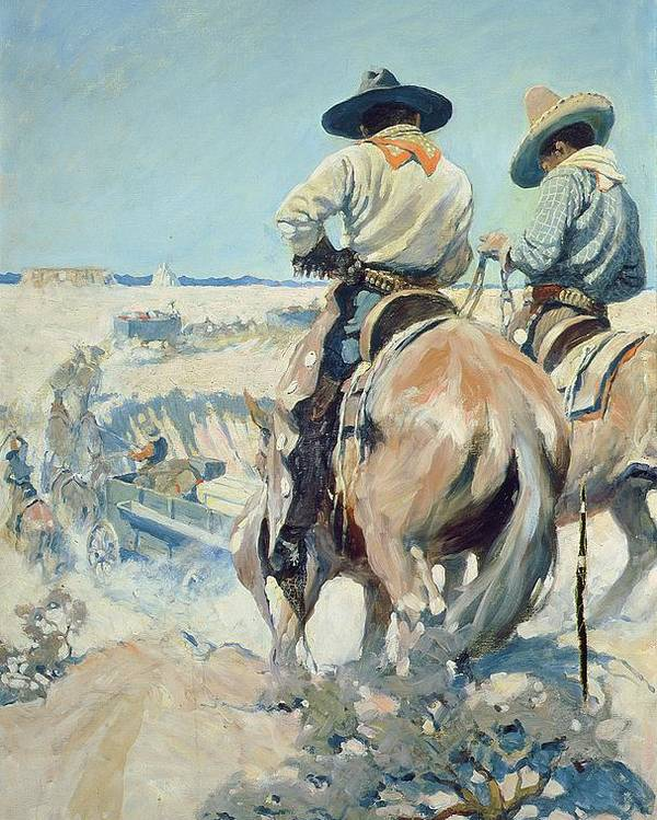 Horse Poster featuring the painting Supply Wagons by Newell Convers Wyeth