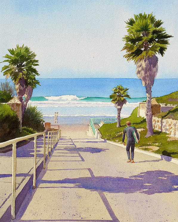 Surfer Poster featuring the painting Surfer Dude at Fletcher Cove by Mary Helmreich