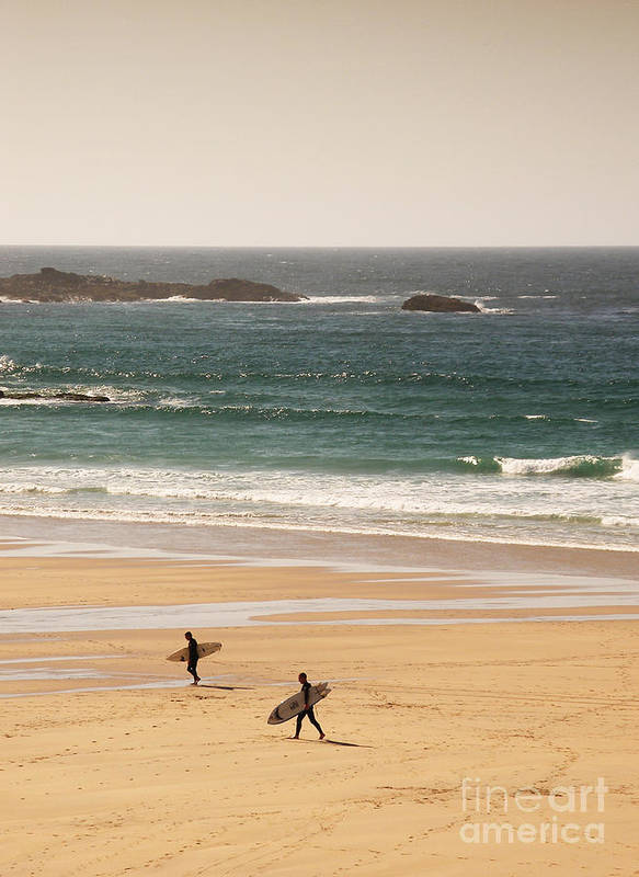 Surf Poster featuring the photograph Surfers On Beach 01 by Pixel Chimp