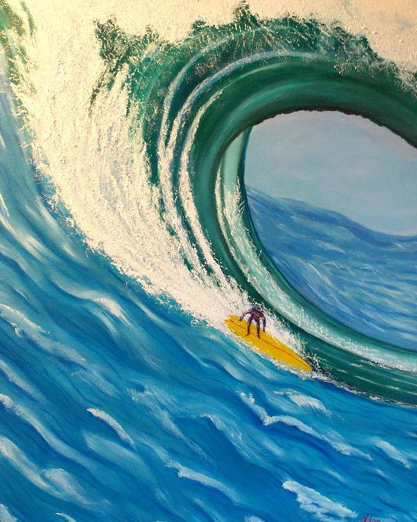 Wave Poster featuring the painting Surfing the Gigantic Wave by Kathern Ware