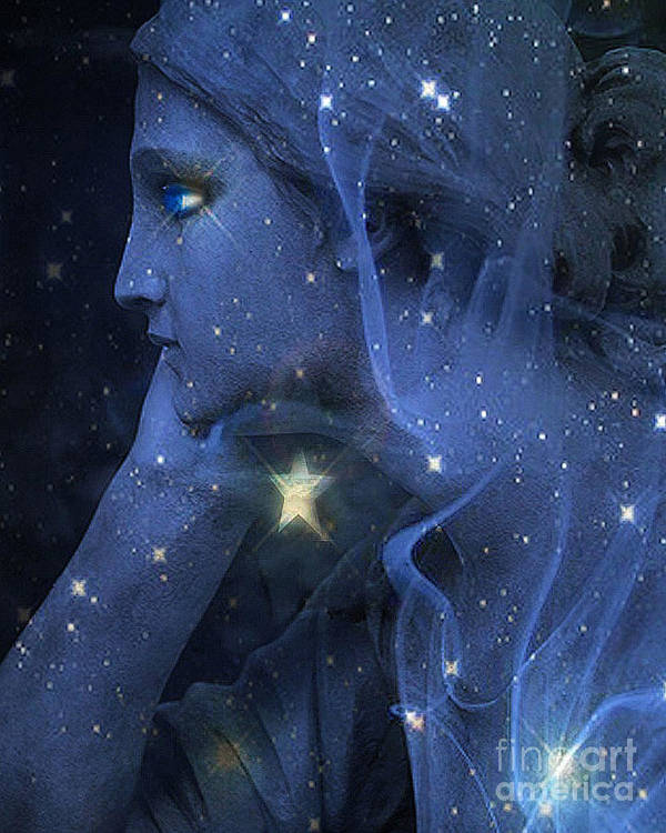 Glissfull Surreal Swing In Space Poster Botanical Sci Fi Original Art Acrylic Feminine