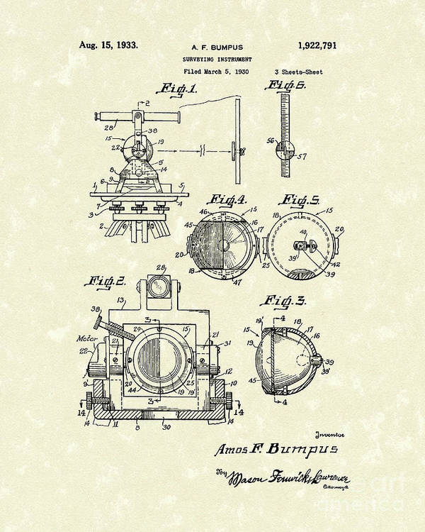 Bumpus Poster featuring the drawing Surveying Instrument 1933 Patent Art by Prior Art Design