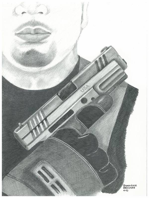 Police Poster featuring the drawing S.w.a.t. Team Leader Holding A Springfield Armory Xd 40 Cal Weapon by Sharon Blanchard