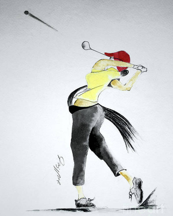Golf Poster featuring the drawing Swing For Hole One by Jalal Gilani