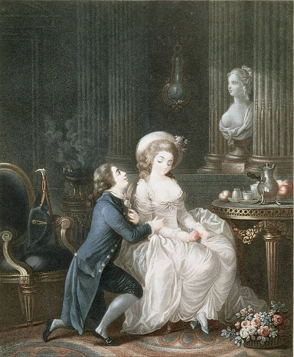 The Lover Is Heard Poster featuring the drawing T.2342 Lamant Ecoute, 1775 by Louis Marin Bonnet