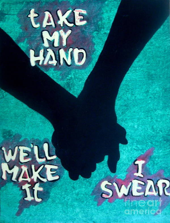 Inspiring Poster featuring the painting Take My Hand by JJ Burner