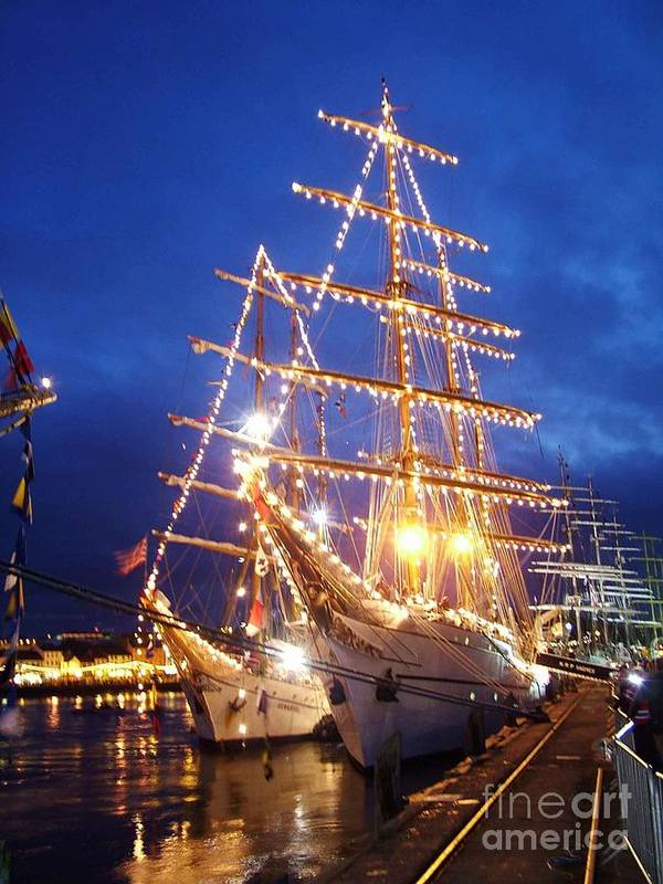 Tall Ships Poster featuring the glass art Tall Ships At Night Time by Joe Cashin