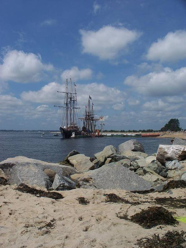 Seascape Poster featuring the photograph Tall Ships In The Distance by Rosanne Bartlett