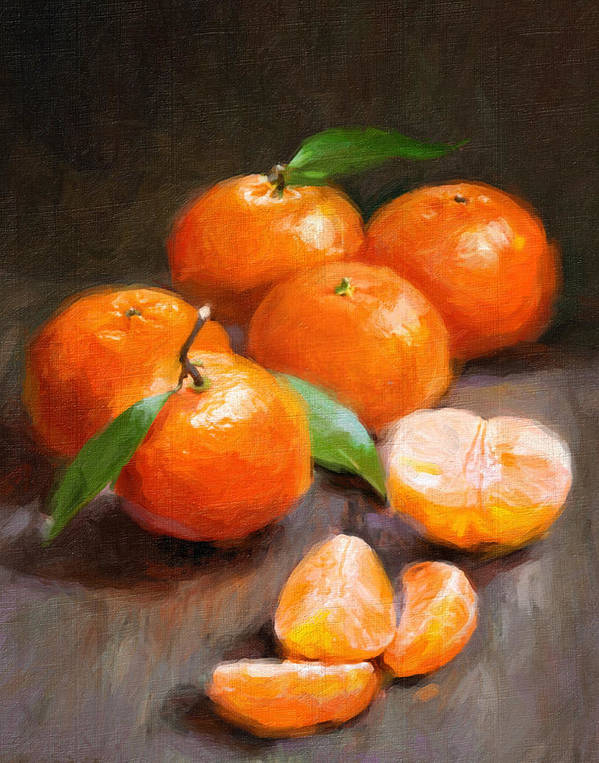 Tangerines Poster featuring the painting Tangerines by Robert Papp