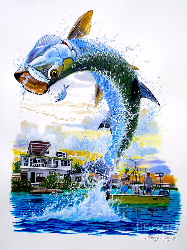 Tarpon Poster featuring the painting Tarpon Leap by Carey Chen