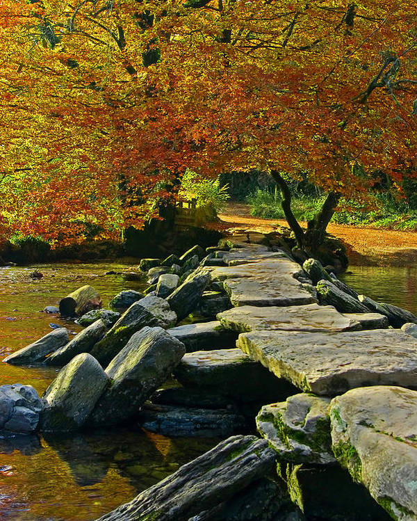 Tarr Steps Poster featuring the photograph Tarr Steps In Somerset by Pete Hemington