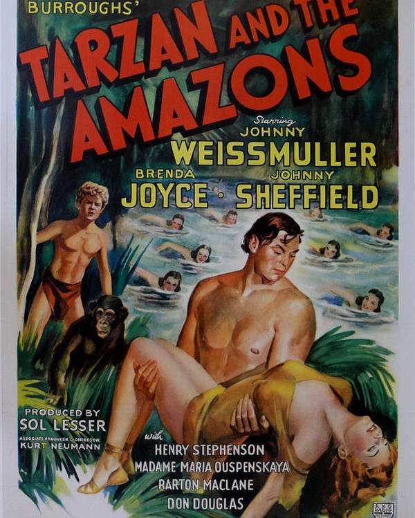 Tarzan And The Amazons Poster featuring the digital art Tarzan And The Amazons by Georgia Fowler