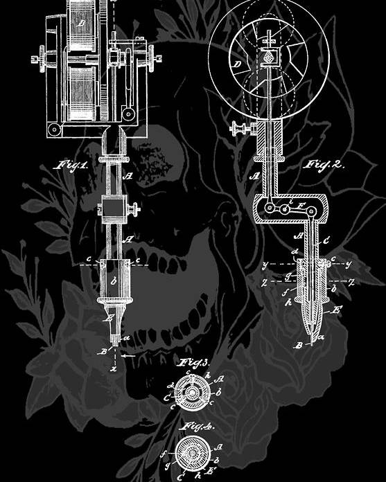 Tattoo Gun Patent Poster featuring the digital art Tattoo Gun Patent by Dan Sproul