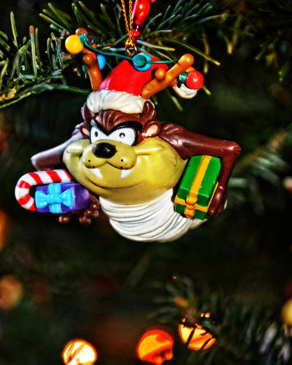 Christmas Poster featuring the photograph Taz On Christmas Tree by Mike Martin