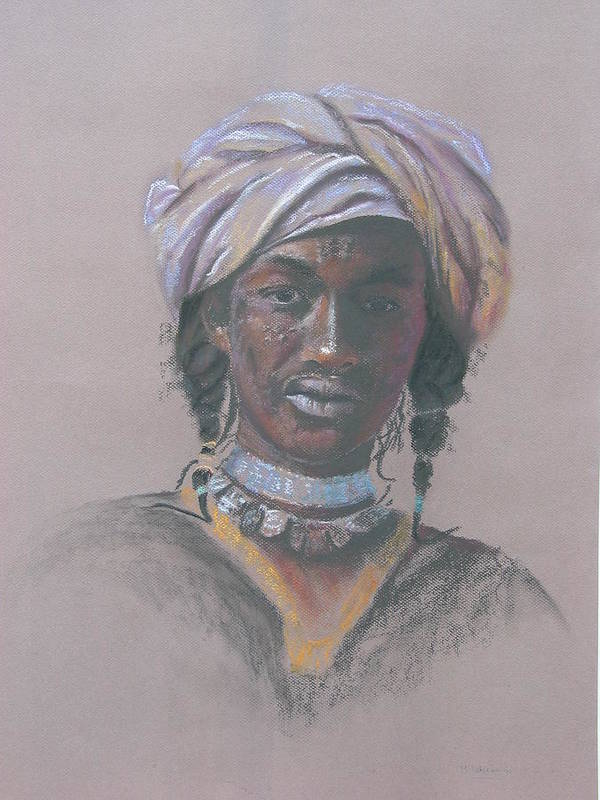 Portrait Poster featuring the painting Tchad Warrior by Maruska Lebrun