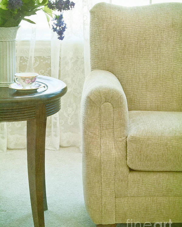 Chair; Curve; Interior; Still Life; Living Room; Sitting Room; Casual; Indoors; Room; Furniture; Nobody; Empty; Curtains; Drapes; Lace; Flowers; Vase; Lilacs; Cup; Saucer; Teacup; Drink; Table; Carpet; Comfort; Window Poster featuring the photograph Tea Time by Margie Hurwich