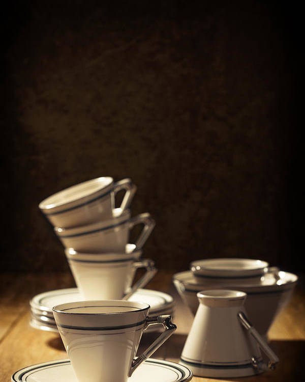 Stack Poster featuring the photograph Teacups by Amanda Elwell