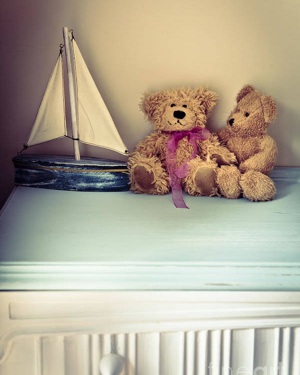 Chest Of Drawers Poster featuring the photograph Teddy Bears by Jan Bickerton