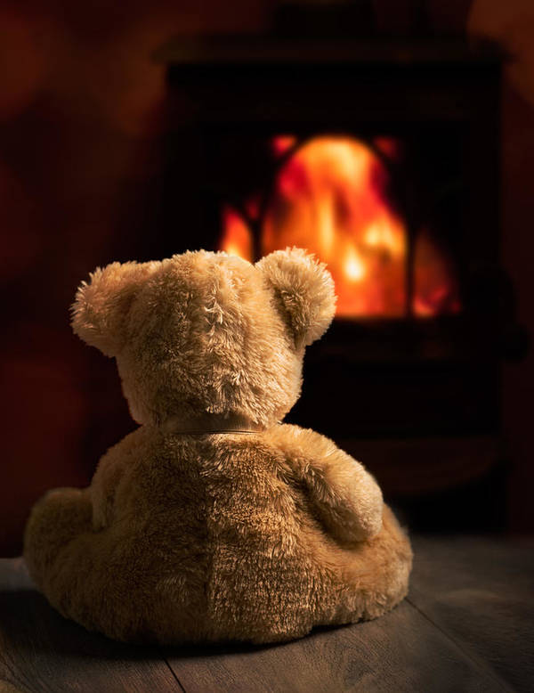 Teddy Bear Poster featuring the photograph Teddy By The Fire by Amanda Elwell