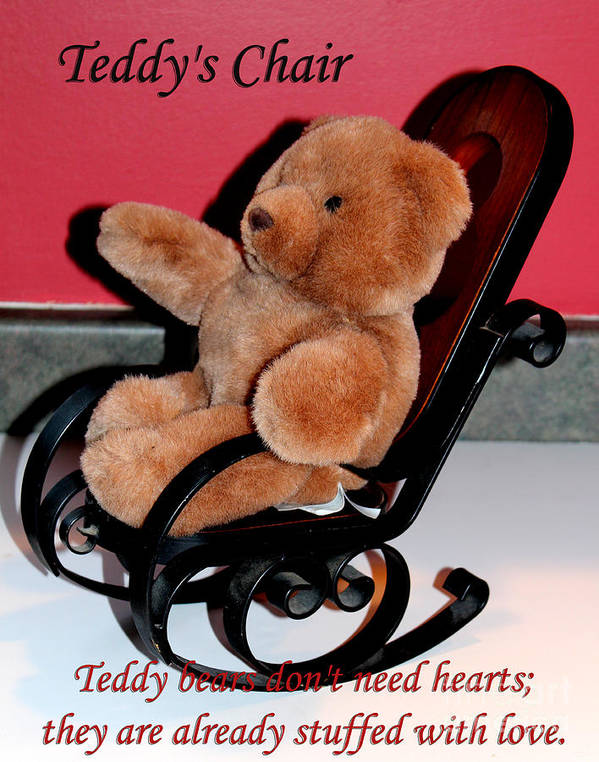 Teddy Bear Poster featuring the photograph Teddy's Chair - Toy - Children by Barbara Griffin