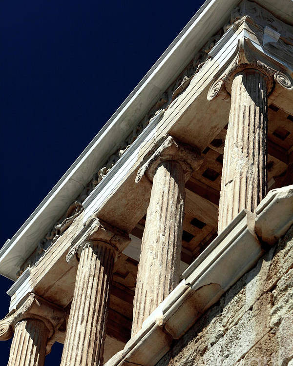 Temple Of Athena Nike Columns Poster featuring the photograph Temple Of Athena Nike Columns by John Rizzuto