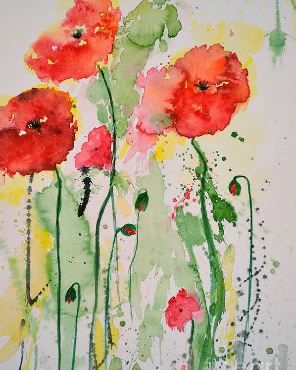 Poppies Poster featuring the painting Tender Poppies - Flower by Ismeta Gruenwald
