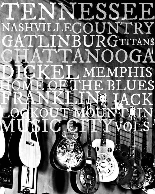 Tennessee Art Poster featuring the photograph Tennessee Words Sign by Chastity Hoff