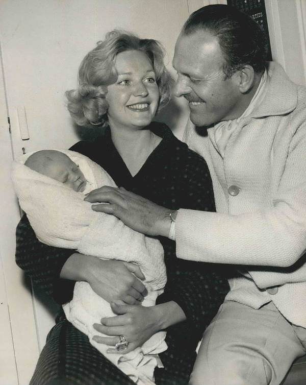 retro Images Archive Poster featuring the photograph Terry Thomas Flies Here To See His Baby by Retro Images Archive