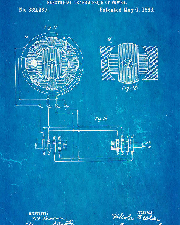 Tesla electrical transmission of power patent art 4 1888 blueprint electricity poster featuring the photograph tesla electrical transmission of power patent art 4 1888 blueprint by malvernweather Gallery