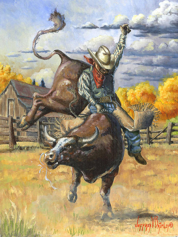 Jeff Poster featuring the painting Texas Bull Rider by Jeff Brimley