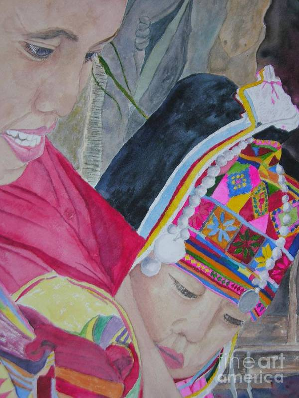 Baby Poster featuring the painting Thai Hill Tribe by Peggy Dickerson