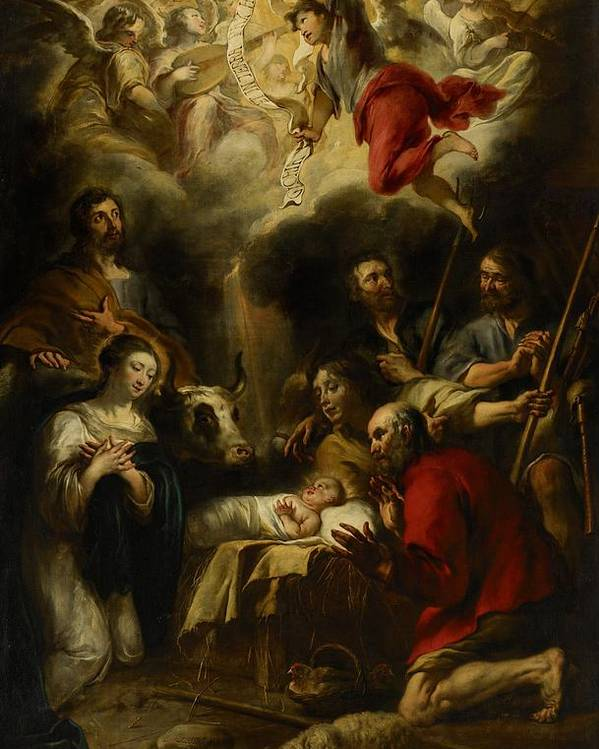 Christmas Cards Poster featuring the painting The Adoration Of The Shepherds by Jan Cossiers
