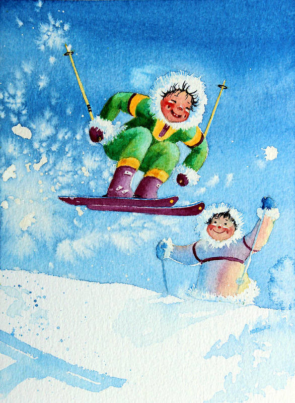 Kids Art For Ski Chalet Poster featuring the painting The Aerial Skier - 10 by Hanne Lore Koehler