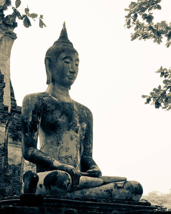 Buddha Statue Poster featuring the sculpture The Ancient City Of Ayutthaya by Thosaporn Wintachai
