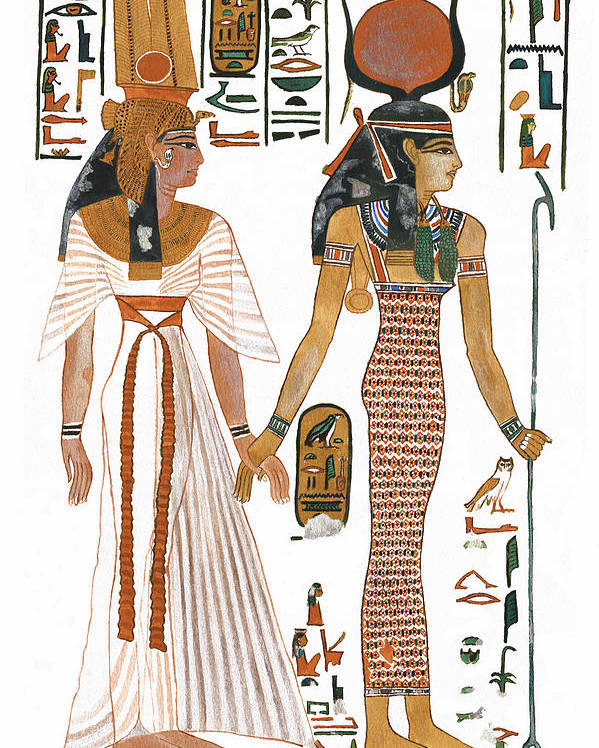Ancient Egyptian Goddess Poster featuring the painting The Ancient Egyptian Goddess Isis Leading Queen Nefertari by Ben Morales-Correa