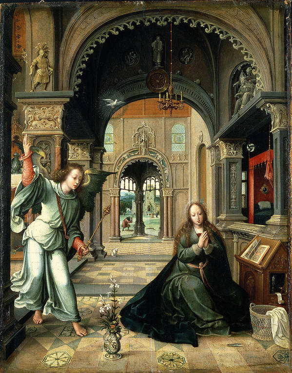 Virgin Mary Poster featuring the painting The Annunciation, Early 16th Century by Bernart van Orley