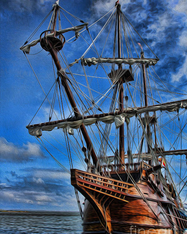 Ship Poster featuring the photograph The Approaching Storm - Spanish Galleon by Lee Dos Santos
