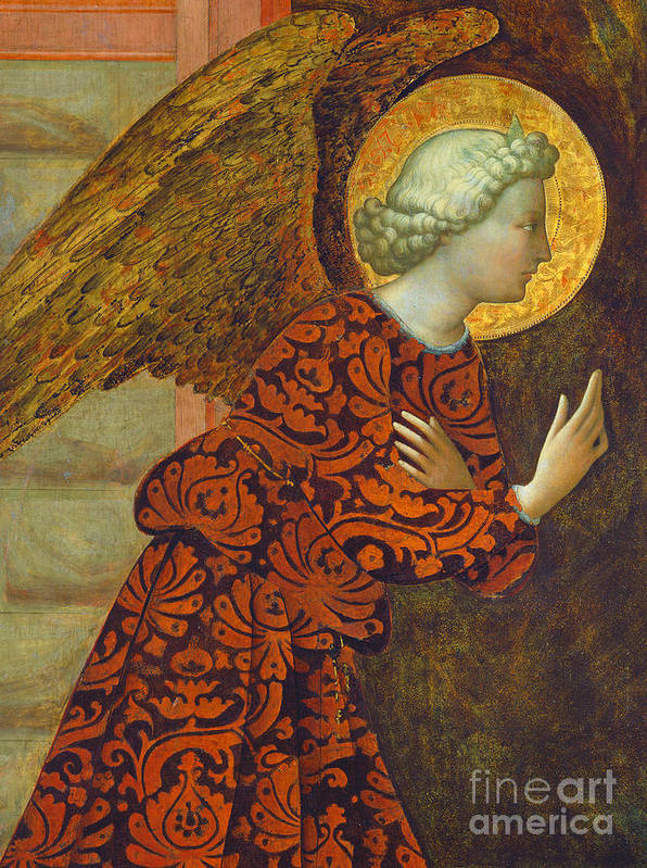 Angel Poster featuring the painting The Archangel Gabriel by Tommaso Masolino da Panicale