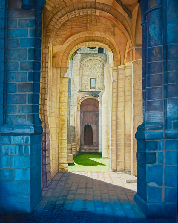 Architecture Poster featuring the painting The Arches Of The Abbey At Jumieges by Stephen Degan