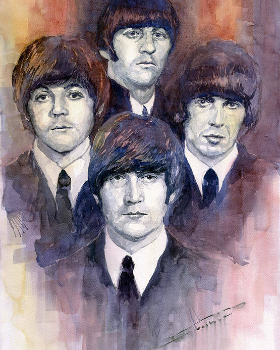 Watercolor Poster featuring the painting The Beatles 02 by Yuriy Shevchuk