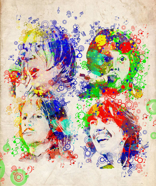 Beatles Poster featuring the painting The Beatles 5 by Bekim M