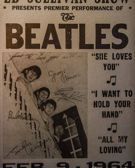 The Beatles Ed Sullivan Show Poster Poster featuring the photograph The Beatles Ed Sullivan Show Poster by Mitch Shindelbower