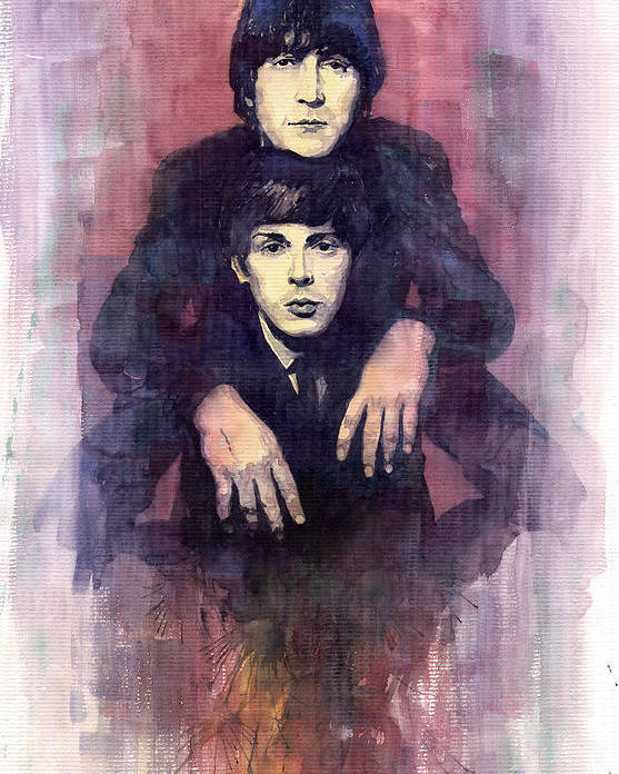 Watercolour Poster featuring the painting The Beatles John Lennon And Paul Mccartney by Yuriy Shevchuk