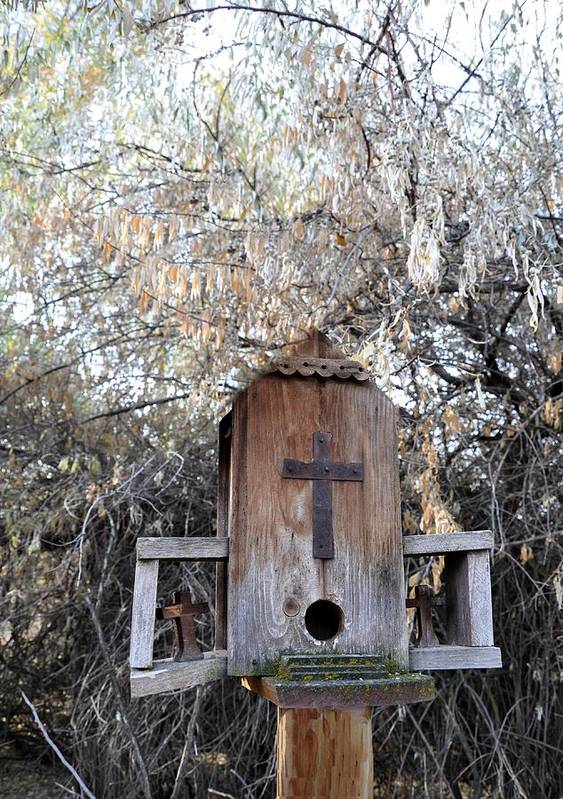 Melba; Idaho; Birdhouse; Shelter; Outdoor; Fall; Autumn; Leaves; Plant; Vegetation; Land; Landscape; Tree; Branch; House; Cross; Poster featuring the photograph The Birdhouse Kingdom - The Olive-sided Flycatcher by Image Takers Photography LLC - Carol Haddon